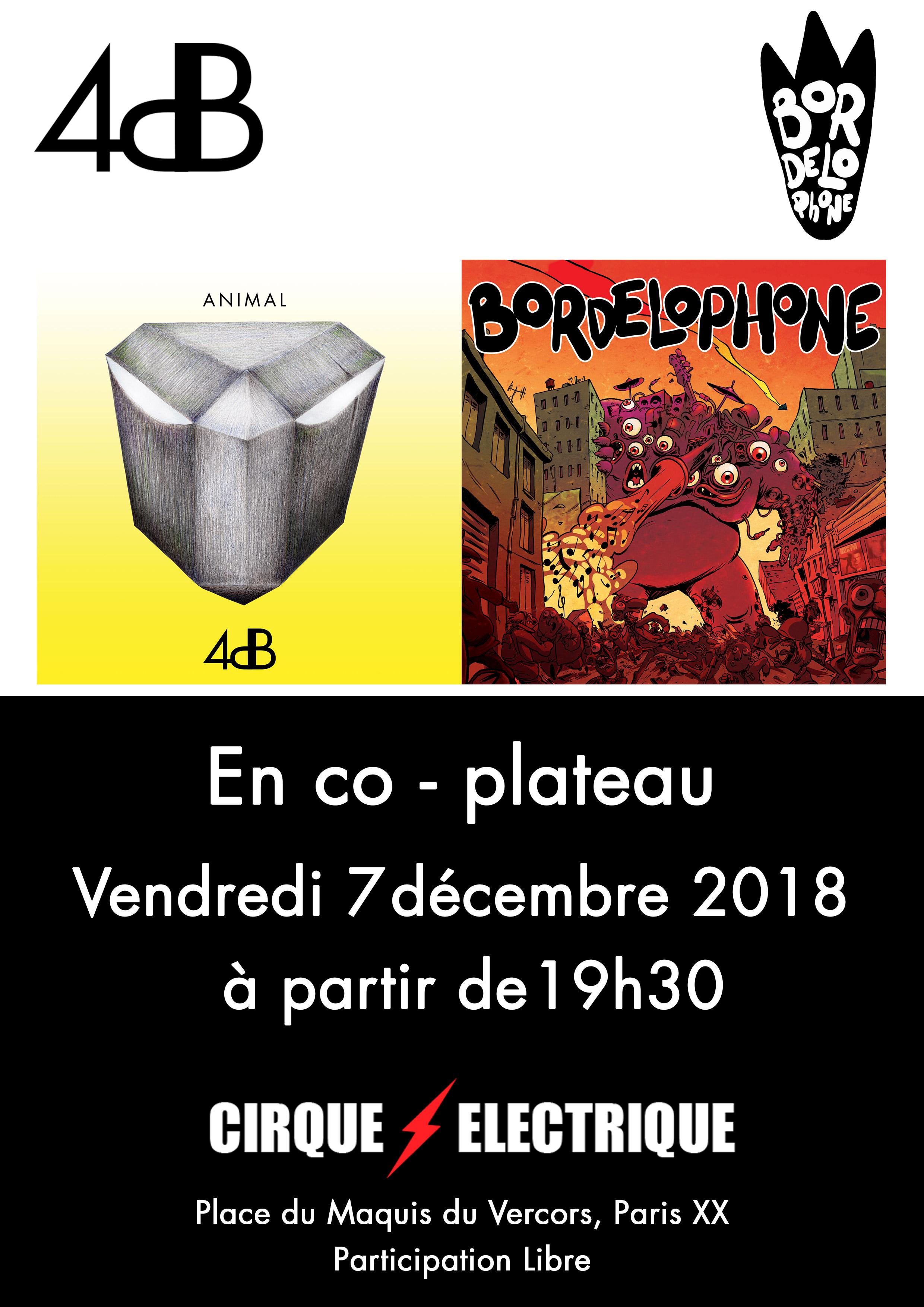 Jazz Fusion / Rock Progressif - 4dB et Bordelophone au Cirque Electrique à Paris